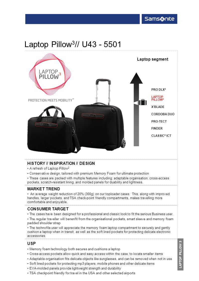PRO DLX 3 LAPTOP PILLOW 3 XBLADE CORDOBA DUO PRO-TECT FINDER CLASSIC 2 ICT HISTORY // INSPIRATION // DESIGN A refresh of Laptop Pillow 2 Conservative