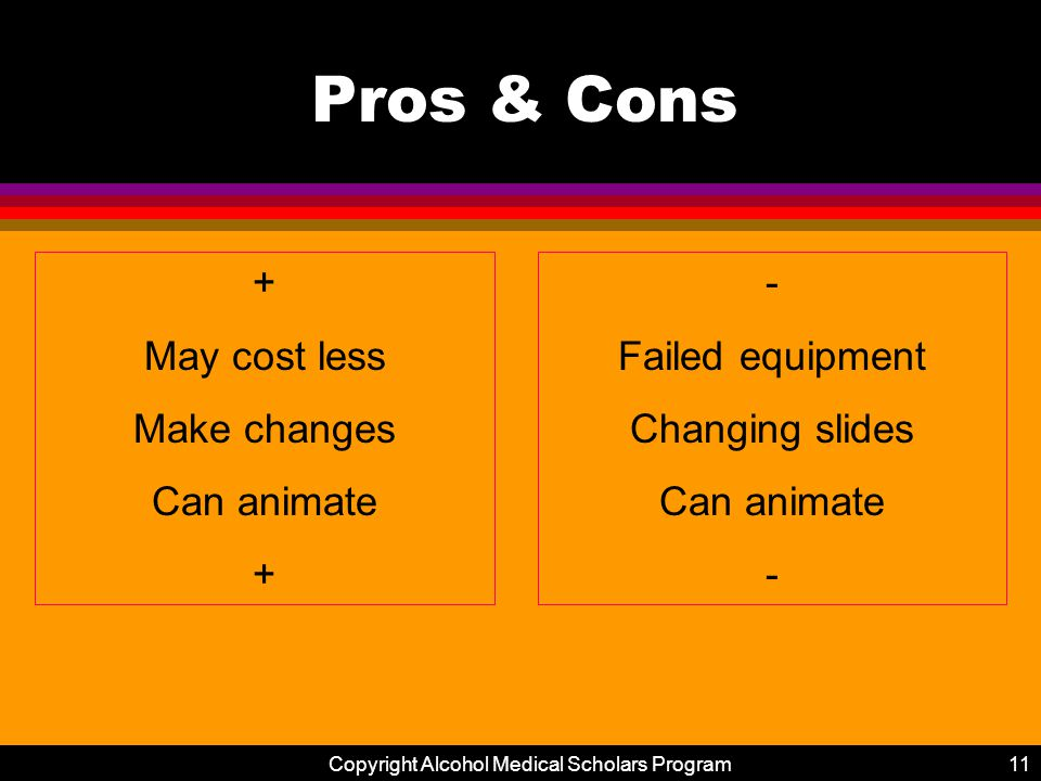 Copyright Alcohol Medical Scholars Program11 Pros & Cons + May cost less Make changes Can animate + - Failed equipment Changing slides Can animate -