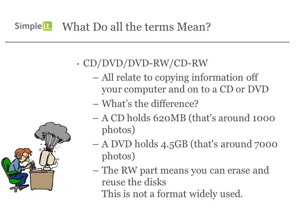 What Do all the terms Mean? CD/DVD/DVD-RW/CD-RW –All relate to copying information off your computer and on to a CD or DVD –Whats the difference? –A C