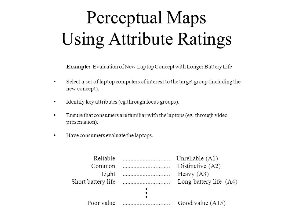Perceptual Maps Using Attribute Ratings Example: Evaluation of New Laptop Concept with Longer Battery Life Select a set of laptop computers of interes