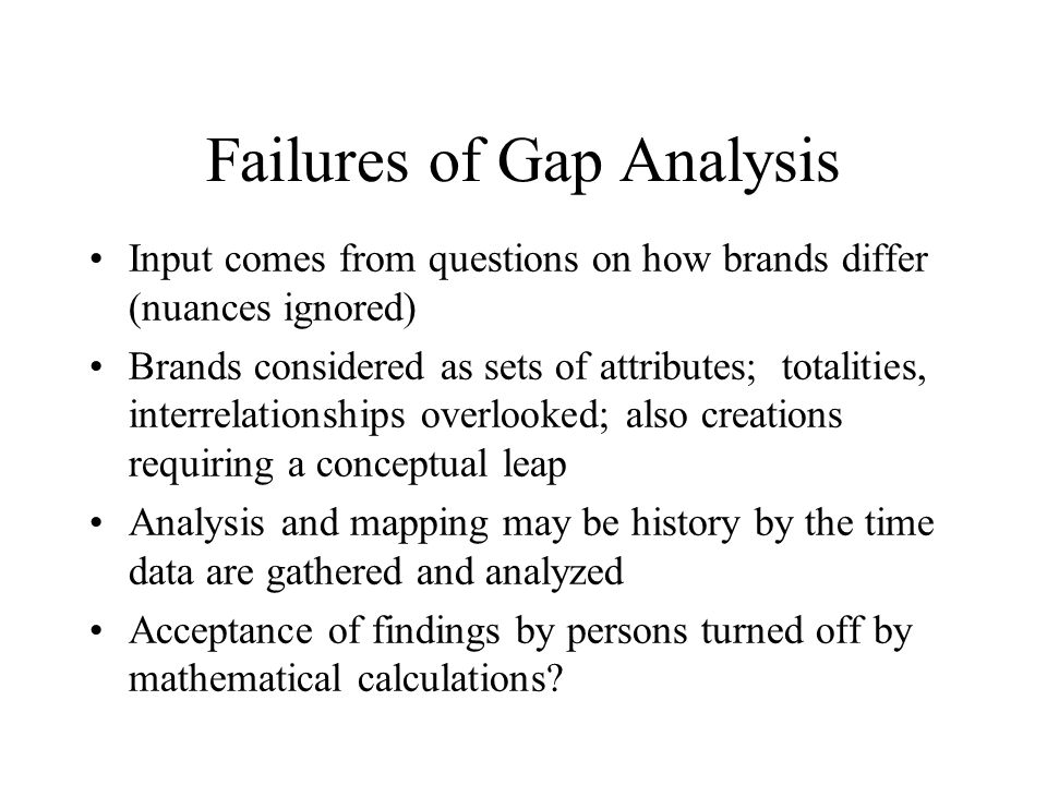Failures of Gap Analysis Input comes from questions on how brands differ (nuances ignored) Brands considered as sets of attributes; totalities, interr