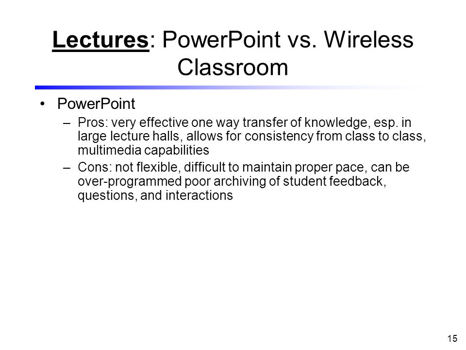 15 Lectures: PowerPoint vs.