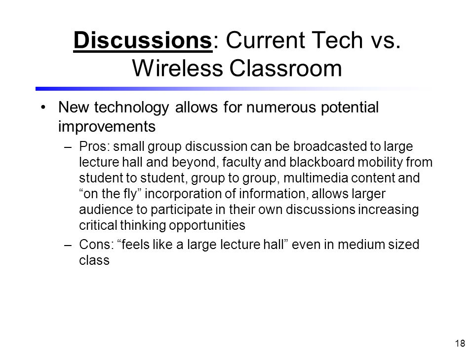 18 Discussions: Current Tech vs.