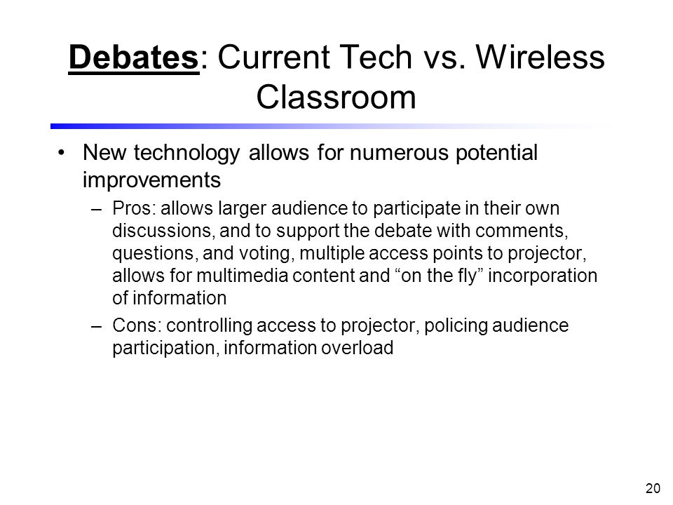 20 Debates: Current Tech vs.