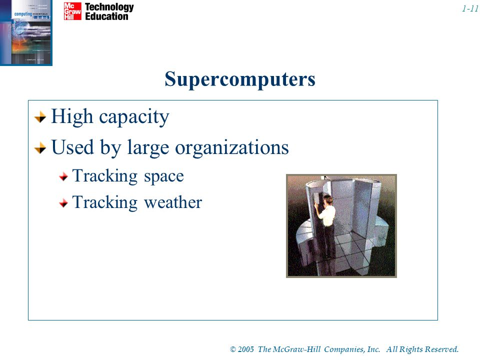 © 2005 The McGraw-Hill Companies, Inc. All Rights Reserved. 1-11 Supercomputers High capacity Used by large organizations Tracking space Tracking weat