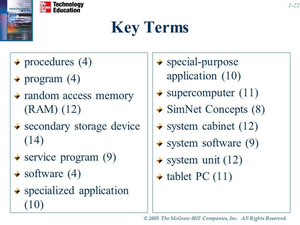 © 2005 The McGraw-Hill Companies, Inc. All Rights Reserved. 1-22 Key Terms procedures (4) program (4) random access memory (RAM) (12) secondary storag