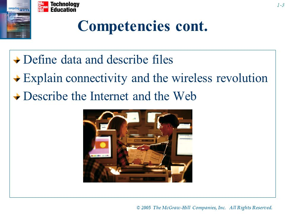 © 2005 The McGraw-Hill Companies, Inc. All Rights Reserved. 1-3 Competencies cont. Define data and describe files Explain connectivity and the wireles