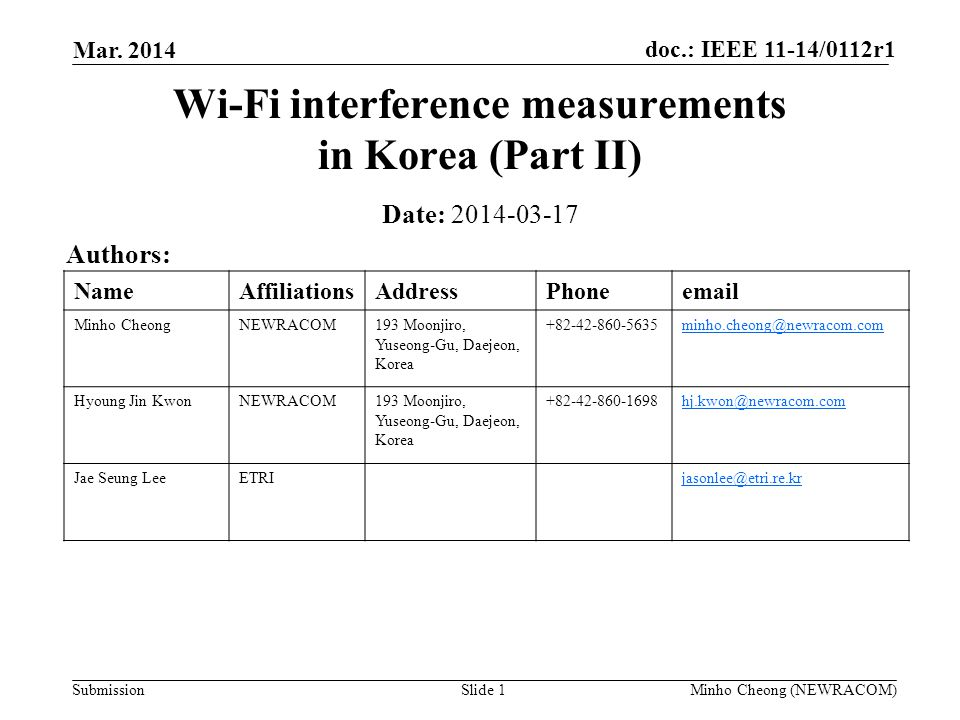 doc.: IEEE 11-14/0112r1 Submission Mar. 2014 Minho Cheong (NEWRACOM)Slide 1 Wi-Fi interference measurements in Korea (Part II) Date: 2014-03-17 Author