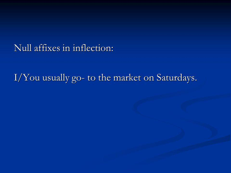 Null affixes in inflection: I/You usually go- to the market on Saturdays.