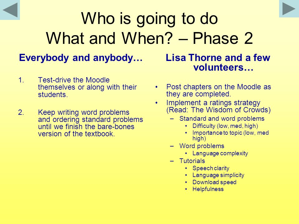Who is going to do What and When? – Phase 2 Everybody and anybody… 1.Test-drive the Moodle themselves or along with their students. 2.Keep writing wor