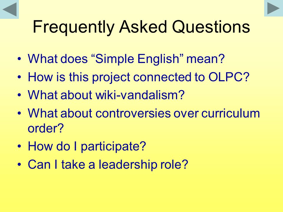Frequently Asked Questions What does Simple English mean.