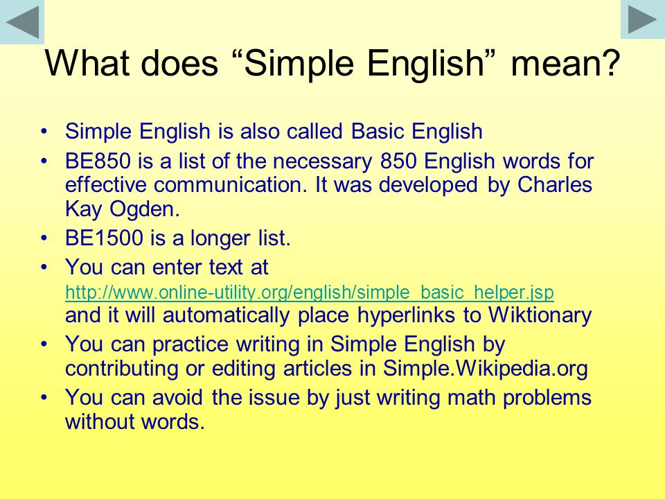 What does Simple English mean.
