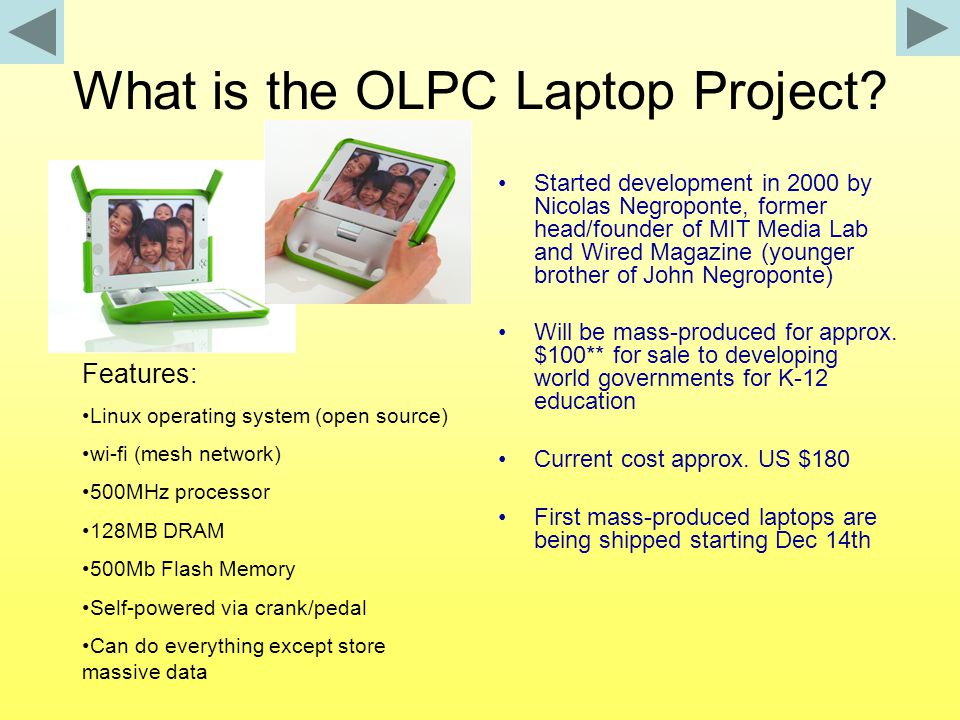 What is the OLPC Laptop Project.
