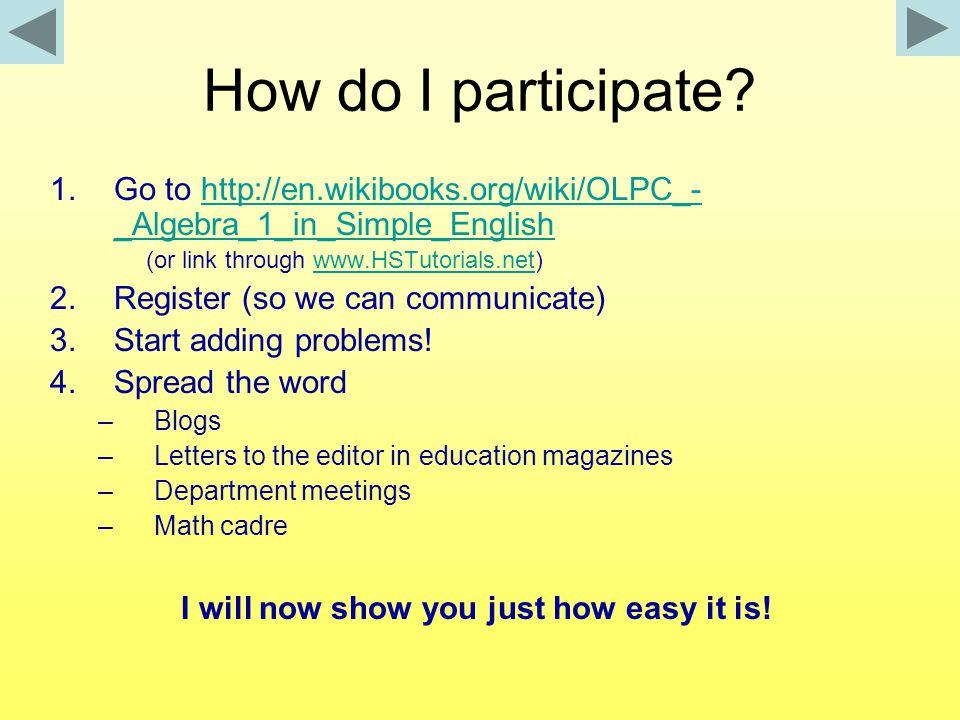 How do I participate.