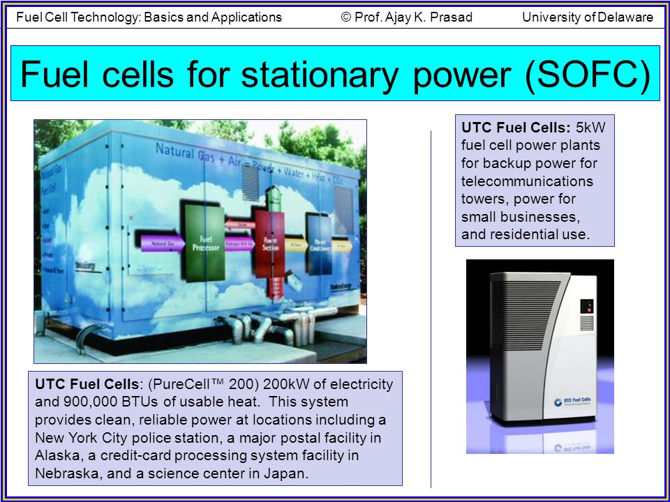 Fuel cells for stationary power (SOFC) UTC Fuel Cells: 5kW fuel cell power plants for backup power for telecommunications towers, power for small busi