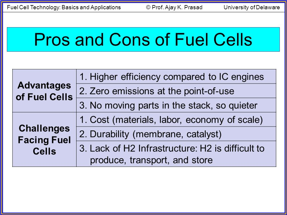 Pros and Cons of Fuel Cells Advantages of Fuel Cells 1. Higher efficiency compared to IC engines 2. Zero emissions at the point-of-use 3. No moving pa