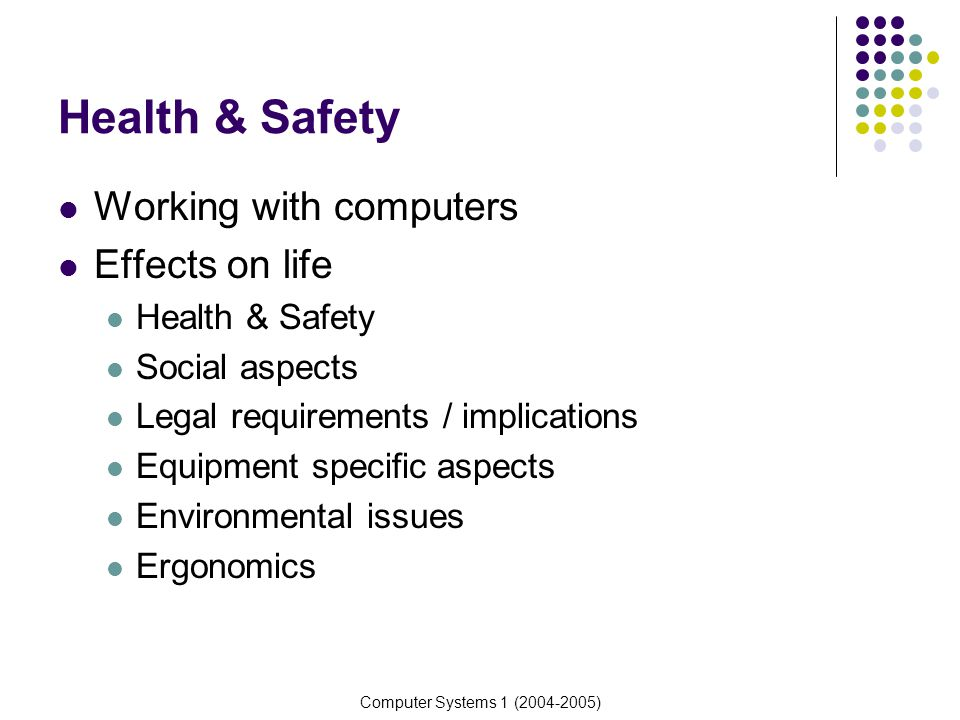 Computer Systems 1 (2004-2005) Health & Safety Working with computers Effects on life Health & Safety Social aspects Legal requirements / implications