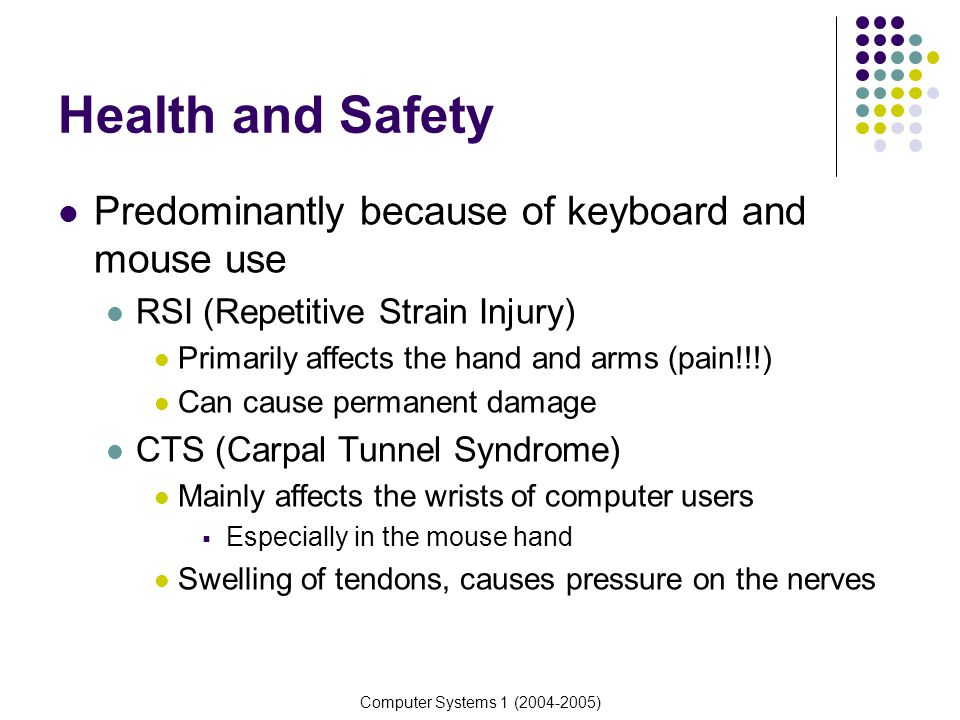 Computer Systems 1 (2004-2005) Health and Safety Predominantly because of keyboard and mouse use RSI (Repetitive Strain Injury) Primarily affects the