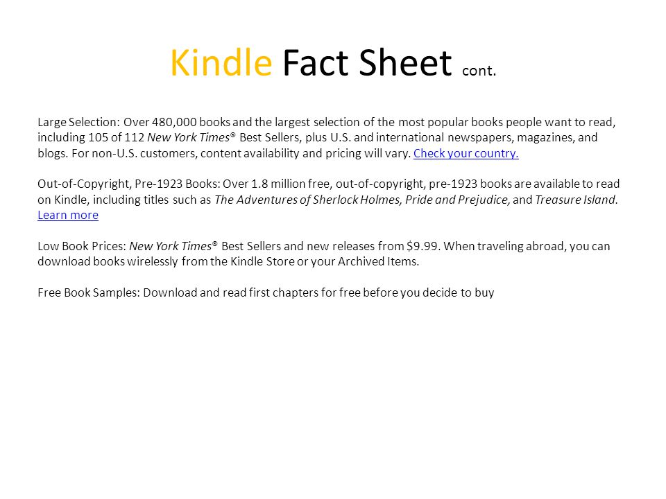 Kindle Fact Sheet cont.