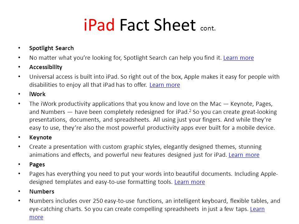 iPad Fact Sheet cont.