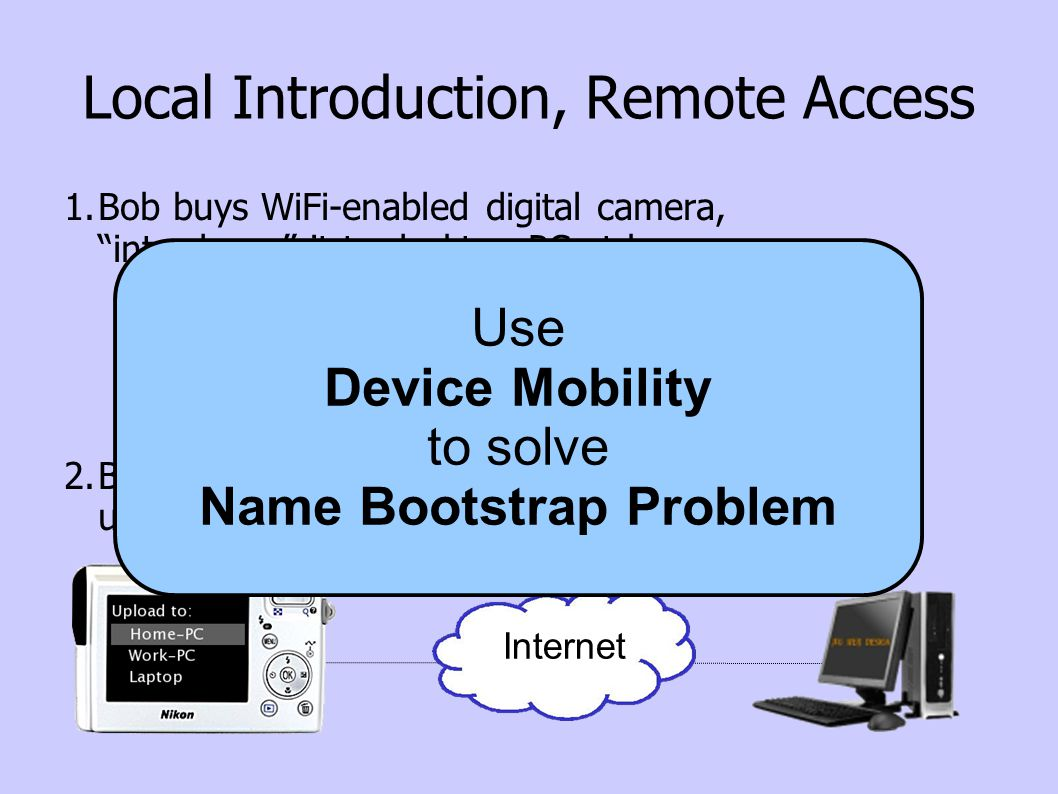 Local Introduction, Remote Access 1.Bob buys WiFi-enabled digital camera, introduces it to desktop PC at home 2.Bob takes camera on trip, stops at cyber-cafe, uploads pics to home PC for storage & sharing Internet Use Device Mobility to solve Name Bootstrap Problem