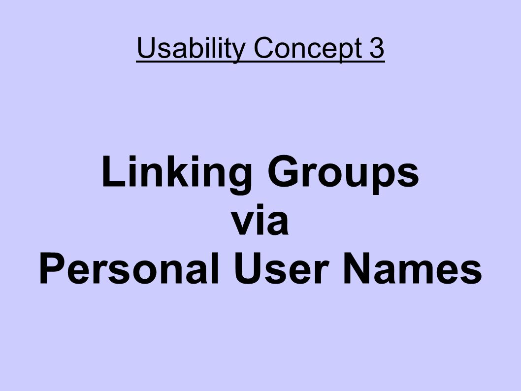 Usability Concept 3 Linking Groups via Personal User Names