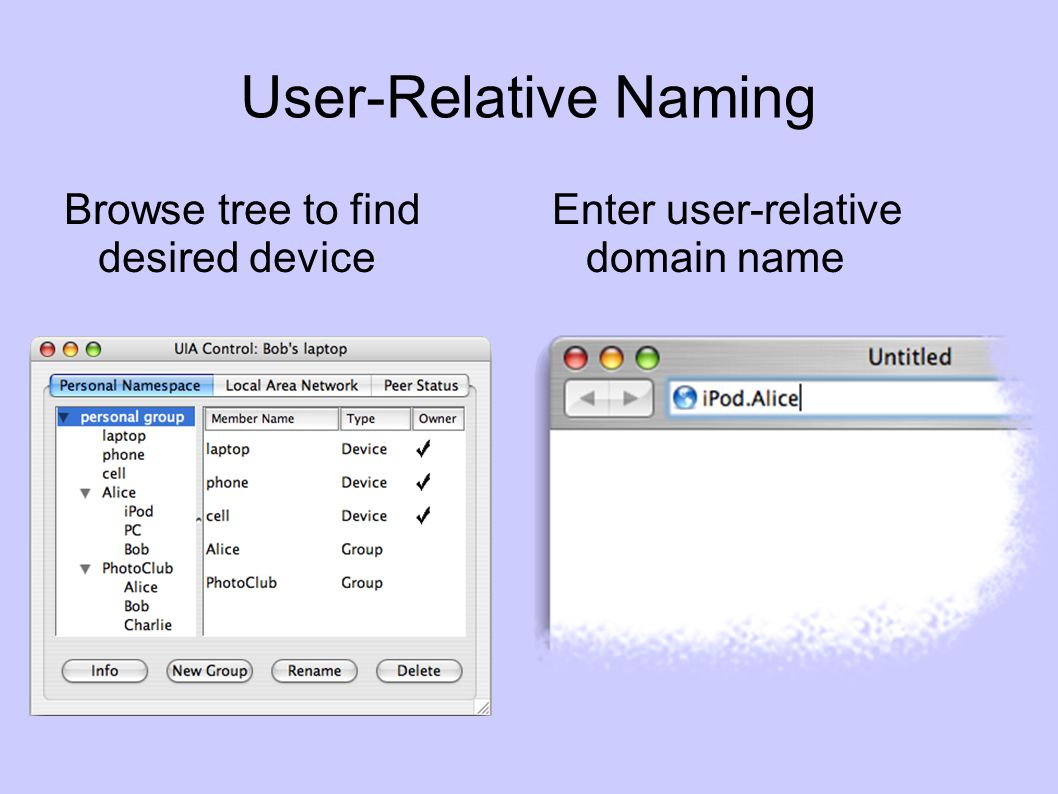 User-Relative Naming Browse tree to find desired device Enter user-relative domain name