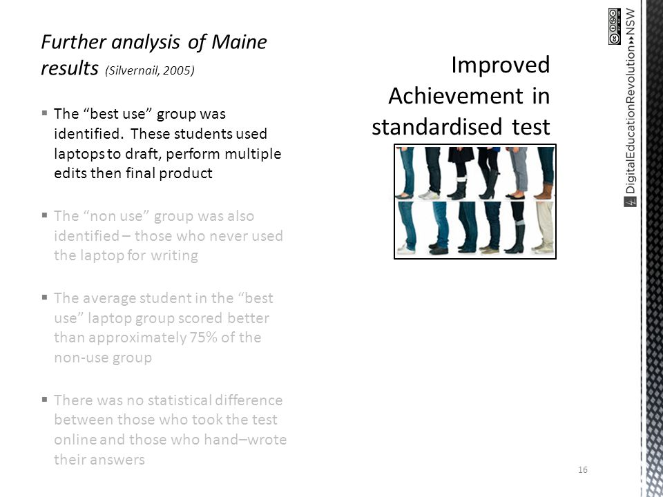 Further analysis of Maine results (Silvernail, 2005) The best use group was identified.