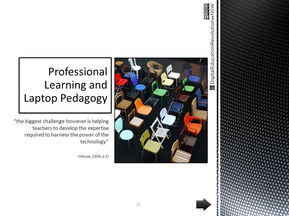 Professional Learning and Laptop Pedagogy the biggest challenge however is helping teachers to develop the expertise required to harness the power of the technology (Mouza, 2008, p.3) 21
