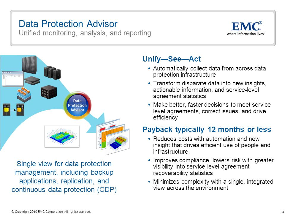 34 © Copyright 2010 EMC Corporation. All rights reserved. UnifySeeAct Automatically collect data from across data protection infrastructure Transform