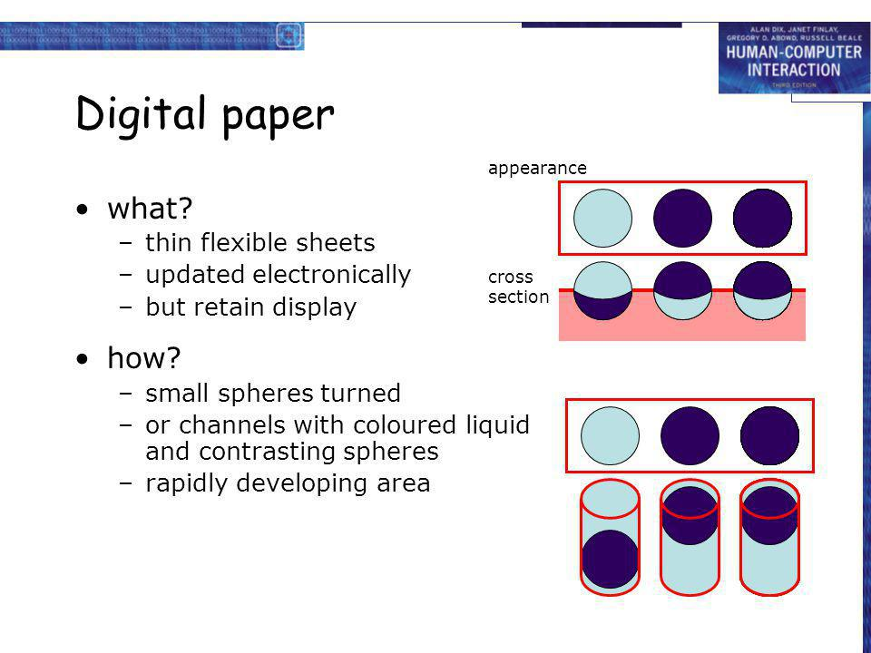 Digital paper what? –thin flexible sheets –updated electronically –but retain display how? –small spheres turned –or channels with coloured liquid and