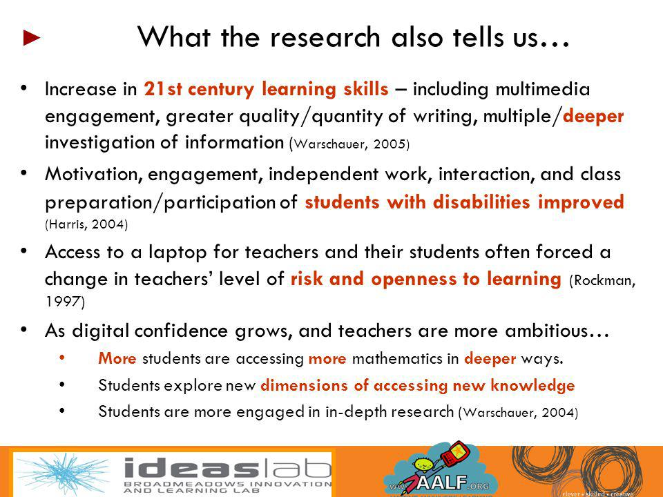Increase in 21st century learning skills – including multimedia engagement, greater quality/quantity of writing, multiple/deeper investigation of info