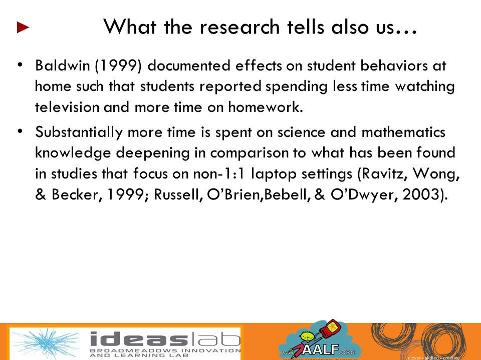 Baldwin (1999) documented effects on student behaviors at home such that students reported spending less time watching television and more time on hom