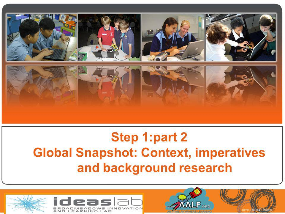 Step 1:part 2 Global Snapshot: Context, imperatives and background research