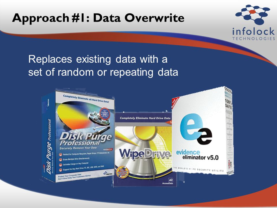 Approach #1: Data Overwrite Replaces existing data with a set of random or repeating data
