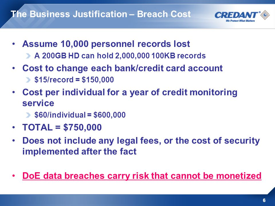 6 The Business Justification – Breach Cost Assume 10,000 personnel records lost A 200GB HD can hold 2,000,000 100KB records Cost to change each bank/c