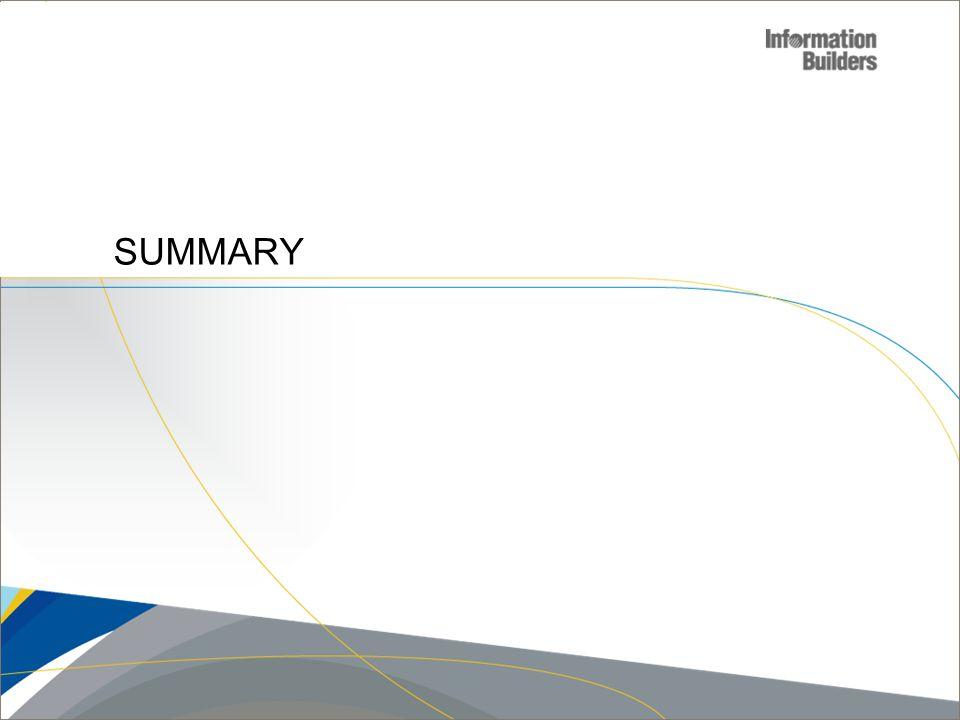 Copyright 2007, Information Builders. Slide 24 SUMMARY