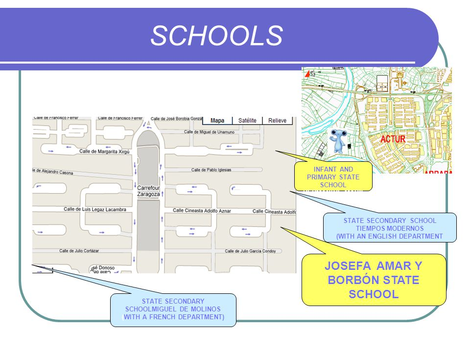 SCHOOLS JOSEFA AMAR Y BORBÓN STATE SCHOOL INFANT AND PRIMARY STATE SCHOOL HERMANOS MARX STATE SECONDARY SCHOOL TIEMPOS MODERNOS (WITH AN ENGLISH DEPARTMENT STATE SECONDARY SCHOOLMIGUEL DE MOLINOS (WITH A FRENCH DEPARTMENT)