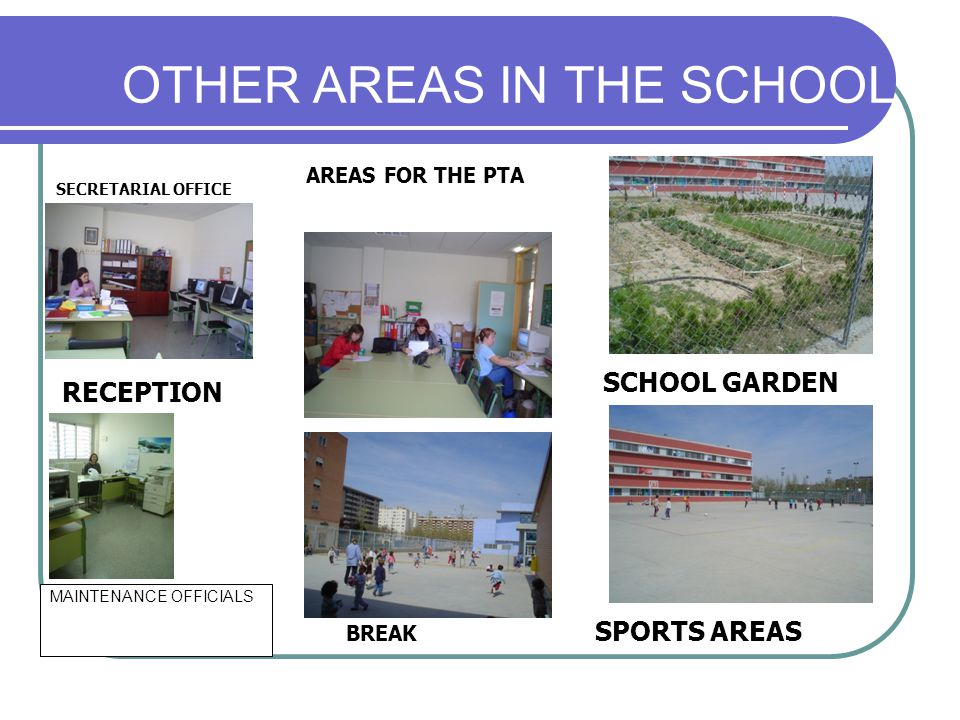 OTHER AREAS IN THE SCHOOL MAINTENANCE OFFICIALS RECEPTION AREAS FOR THE PTA SCHOOL GARDEN BREAK SPORTS AREAS SECRETARIAL OFFICE