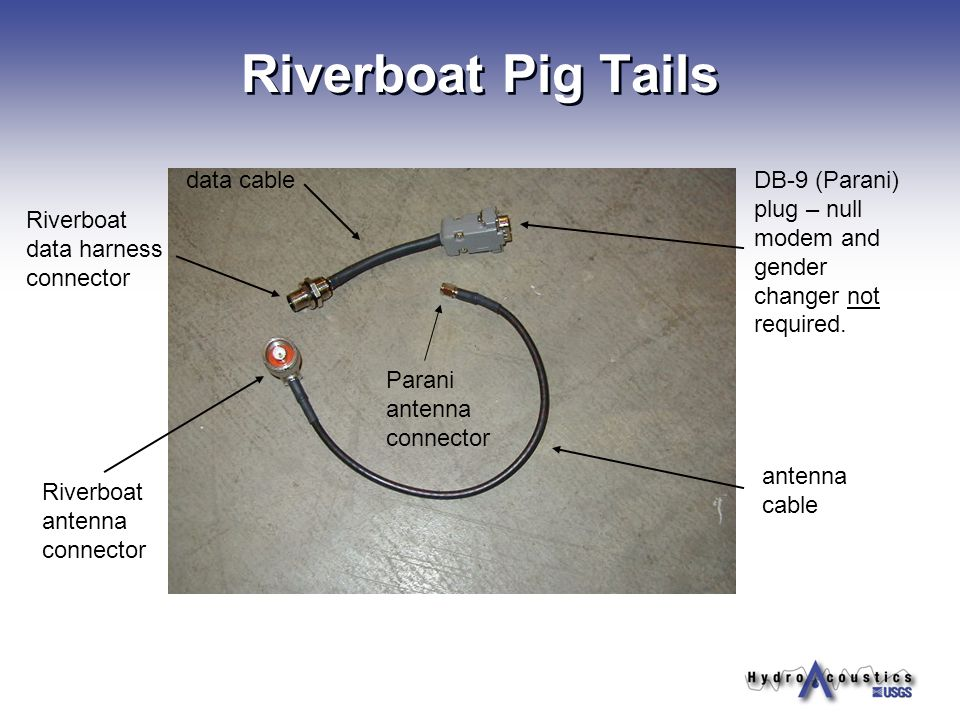 antenna cable data cableDB-9 (Parani) plug – null modem and gender changer not required. Riverboat data harness connector Riverboat antenna connector