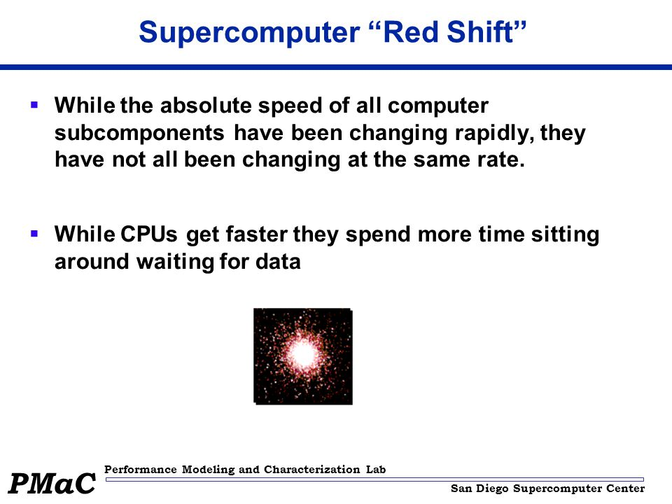 San Diego Supercomputer Center Performance Modeling and Characterization Lab PMaC Supercomputer Red Shift While the absolute speed of all computer subcomponents have been changing rapidly, they have not all been changing at the same rate.