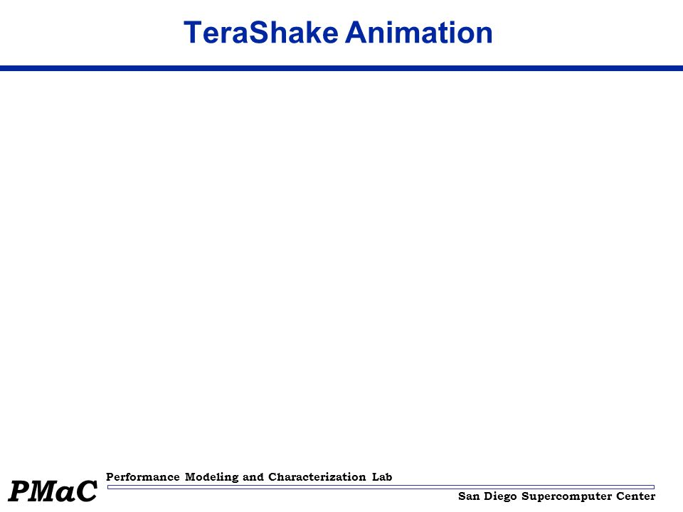 San Diego Supercomputer Center Performance Modeling and Characterization Lab PMaC TeraShake Animation