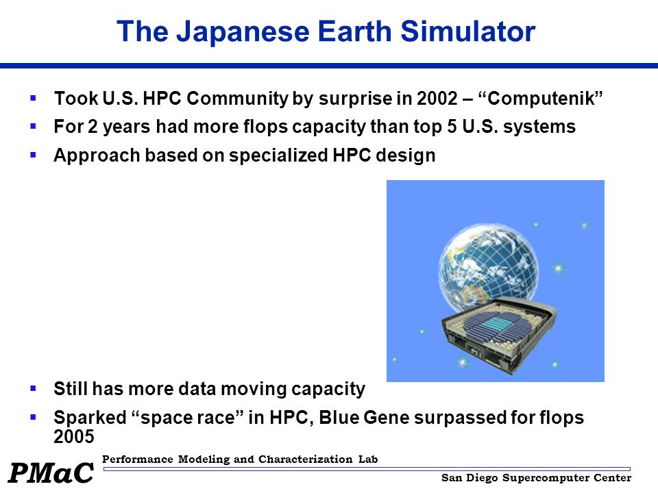 San Diego Supercomputer Center Performance Modeling and Characterization Lab PMaC The Japanese Earth Simulator Took U.S.