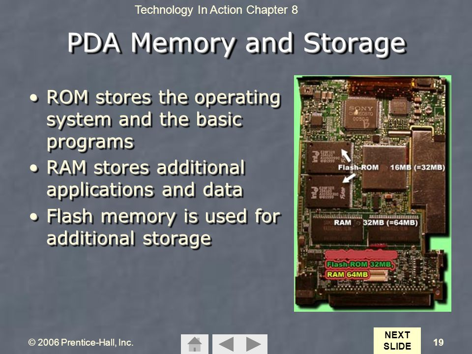 Technology In Action Chapter 8 © 2006 Prentice-Hall, Inc.19 PDA Memory and Storage ROM stores the operating system and the basic programsROM stores th