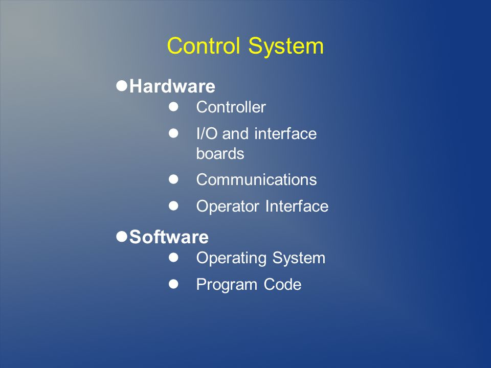 Control System Hardware Controller I/O and interface boards Communications Operator Interface Software Operating System Program Code