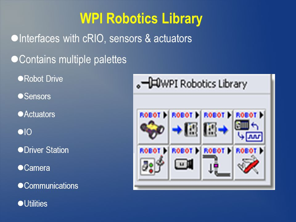 WPI Robotics Library Interfaces with cRIO, sensors & actuators Contains multiple palettes Robot Drive Sensors Actuators IO Driver Station Camera Commu