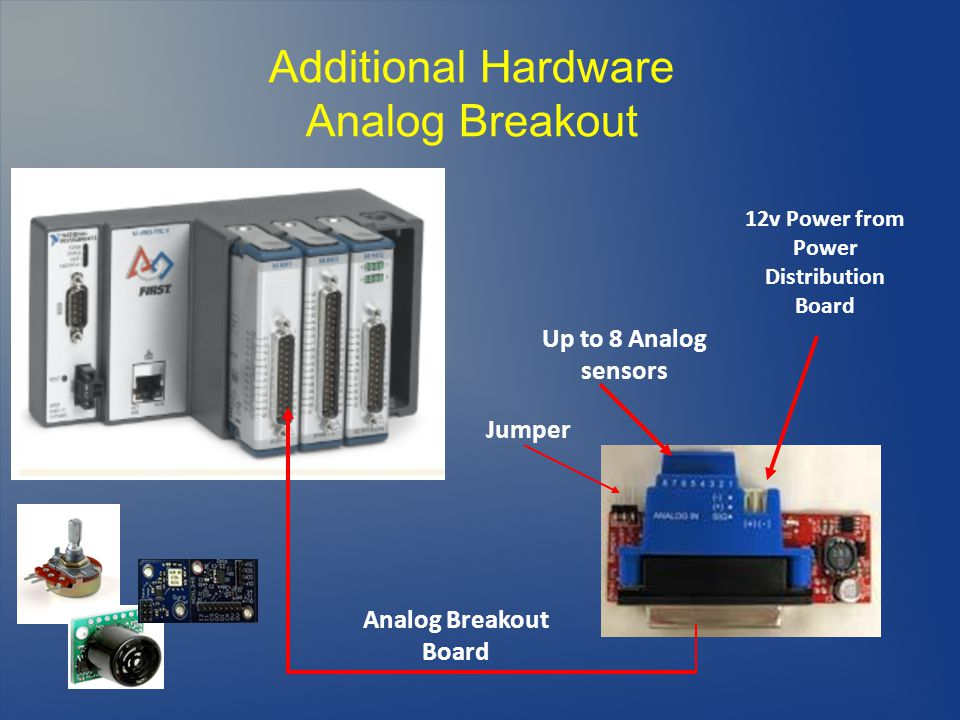 Additional Hardware Analog Breakout Up to 8 Analog sensors 12v Power from Power Distribution Board Analog Breakout Board Jumper