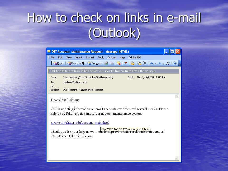 How to check on links in e-mail (Outlook)