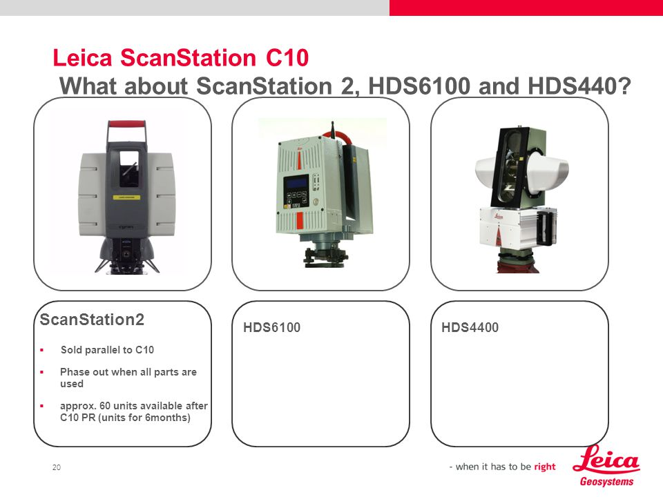 20 Leica ScanStation C10 What about ScanStation 2, HDS6100 and HDS440? ScanStation2 Sold parallel to C10 Phase out when all parts are used approx. 60