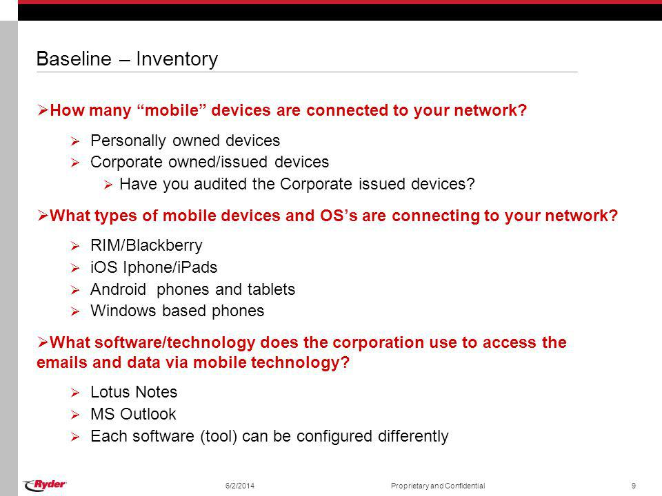 Baseline – Inventory How many mobile devices are connected to your network? Personally owned devices Corporate owned/issued devices Have you audited t